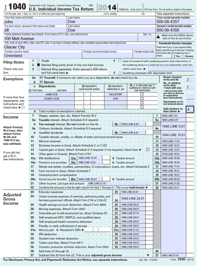 US Form 1040 LINE REFERENCE SHEET | Tyler Lynch, PC