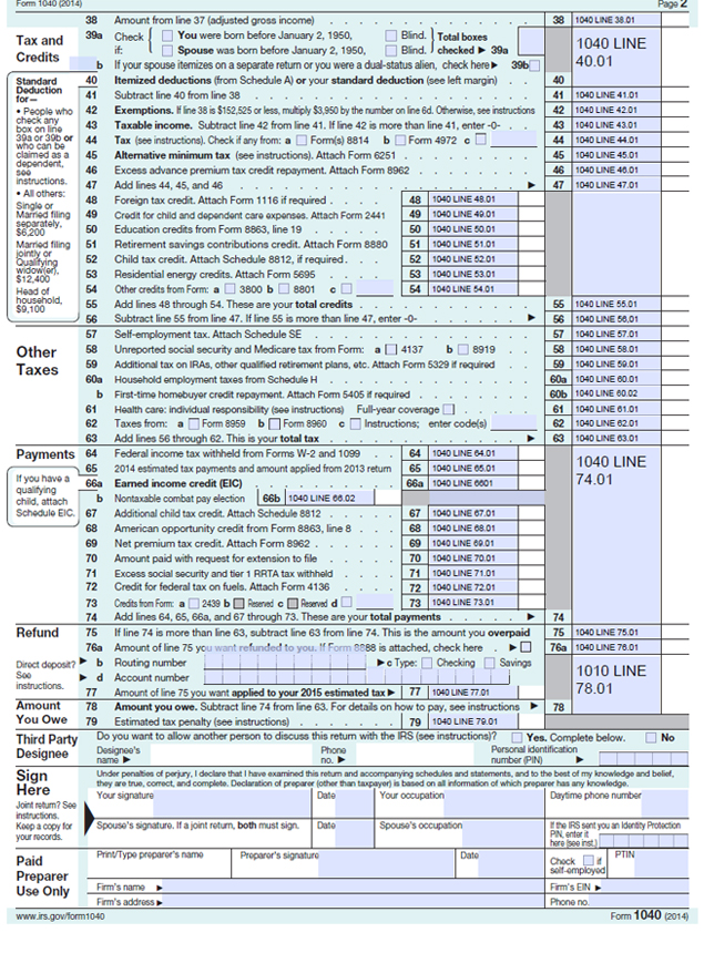 irs form 1040 instructions 2015